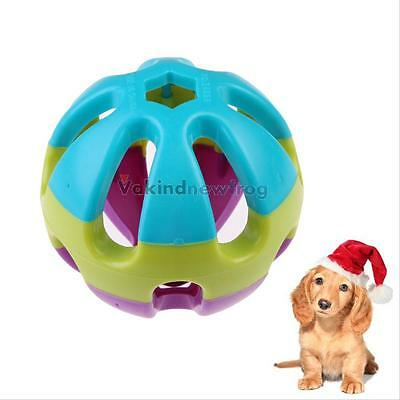Funny Cat Puppy Pet Roller Ball Happy Jingle Bell Play Chew Fetch Bouncy Dog Toy