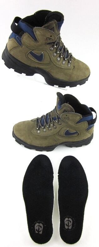Vintage Nike ACG Hiking Trail Boots Light Brown Navy Leather Sz 7