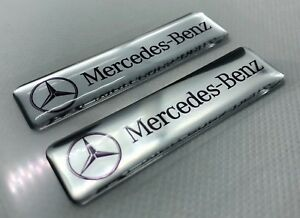 2x-Mercedes-Benz-Silver-Logo-3D-Domed-Stickers-Size-65x17mm