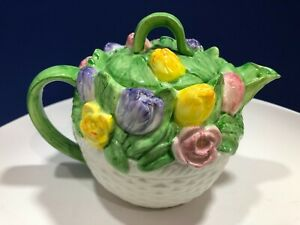 Vintage-Teapot-Otagiri-Basketweave-Tulip-Mary-Ann-Baker-Hand-Crafted-Japan