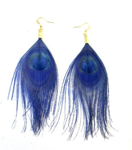 Navy Blue Gold Peacock Feather Earrings Drop Hook Boho Dangle Vintage 1920s 887