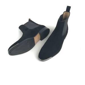 Bottines-Chelsea-Hommes-Noir-Daim-Chaussures-Handmade-Silver-Tip-Mi-mollet-en-daim-cuir