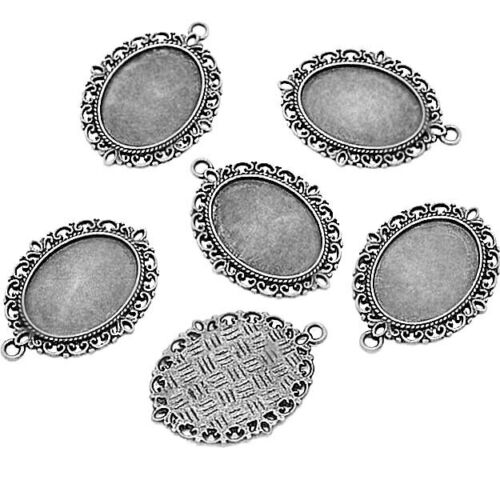 5 Pendant Trays Antique Silver Fits Cameos 25mm x 18mm Z042