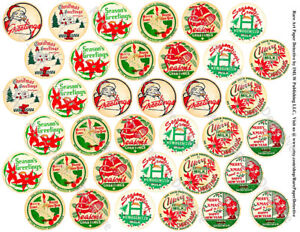 Milk Cap Stickers, Christmas Kitchen Milk Bottle Cap Reproduction Tags, 1 Sheet