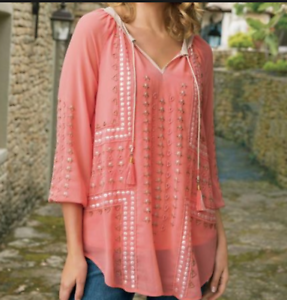 Soft Surroundings Petite Penelope Tunic and Tank Größe PL Coral Embroiderot