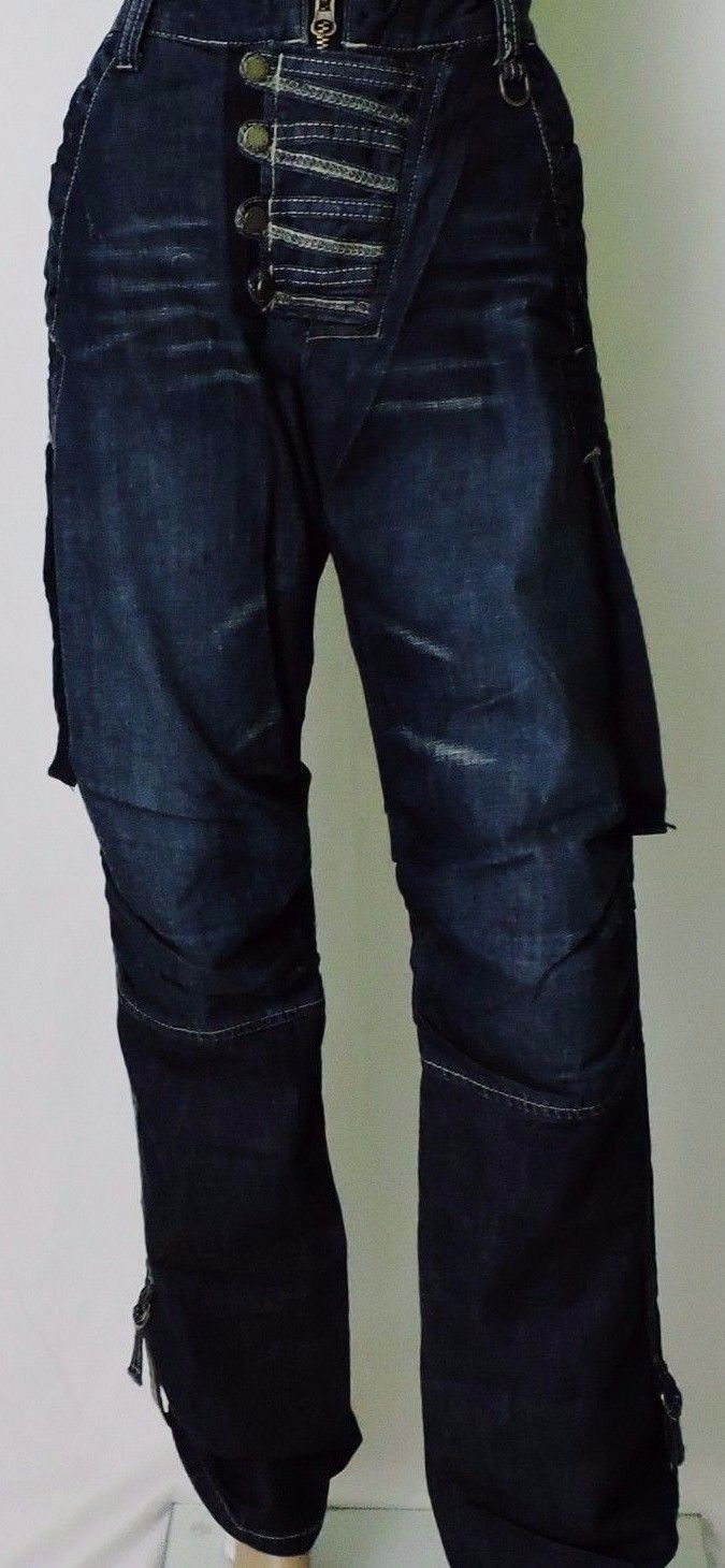 Lässige Herren Denim Jeans Jeanshose Hip-Hop   Baggy Relaxed W30 L34 blau NEWBOY