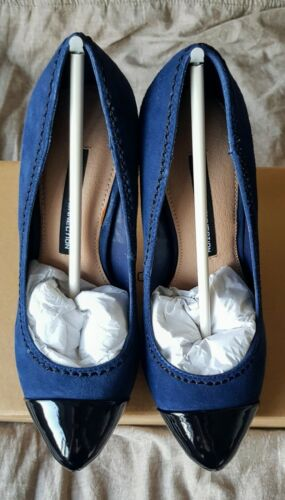 French Connection Trudy Navy Blue Suede Stiletto Shoes Pumps - Size Uk 3 Eu 36