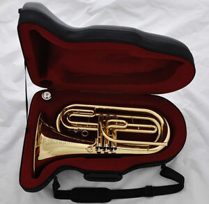 Professional-Gold-Brass-Marching-Baritone-Tuba-Horn-New-Instrument-With-Case