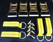 "12pc Lasso Wheel Lift Strap, 2"" Ratchet J Finger Hook Flatbed Tow Truck Tie Down"