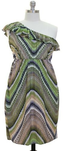 NWT Plus Size Women Ruffle One Shoulder Knit Dress Vibrant Wave Print Jon /& Anna