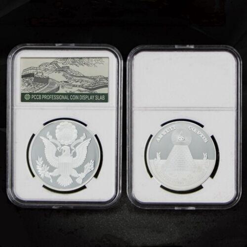 Silver Souvenir Coin Annuit Coeptis Egyptian Pyramid God US Eye Coin W//Pcb Box