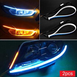 2-un-45cm-LED-Tira-Senal-De-Vuelta-Indicador-DRL-Luces-de-circulacion-diurna-para-coche