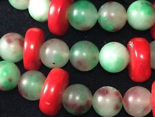 Art Deco Jade And Red Glass Bead Necklace, Most Attractive!