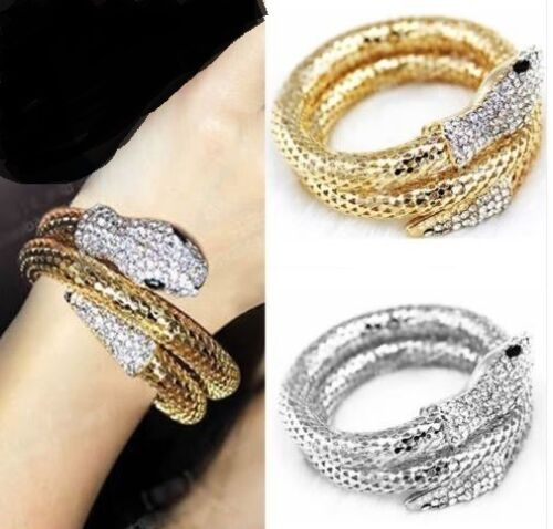 GOLD OR SILVER SNAKE WITH BLACK EYE DIAMANTE WITH RHINESTONE TAIL