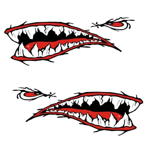 2pcs Big Shark Teeth Mouth Fish Boat Stickers Kayak Canoe Graphics Decals