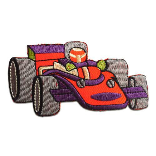 Formel1 Auto Kinder 9,8x4,9cm Aufnäher bunt Bügelbild