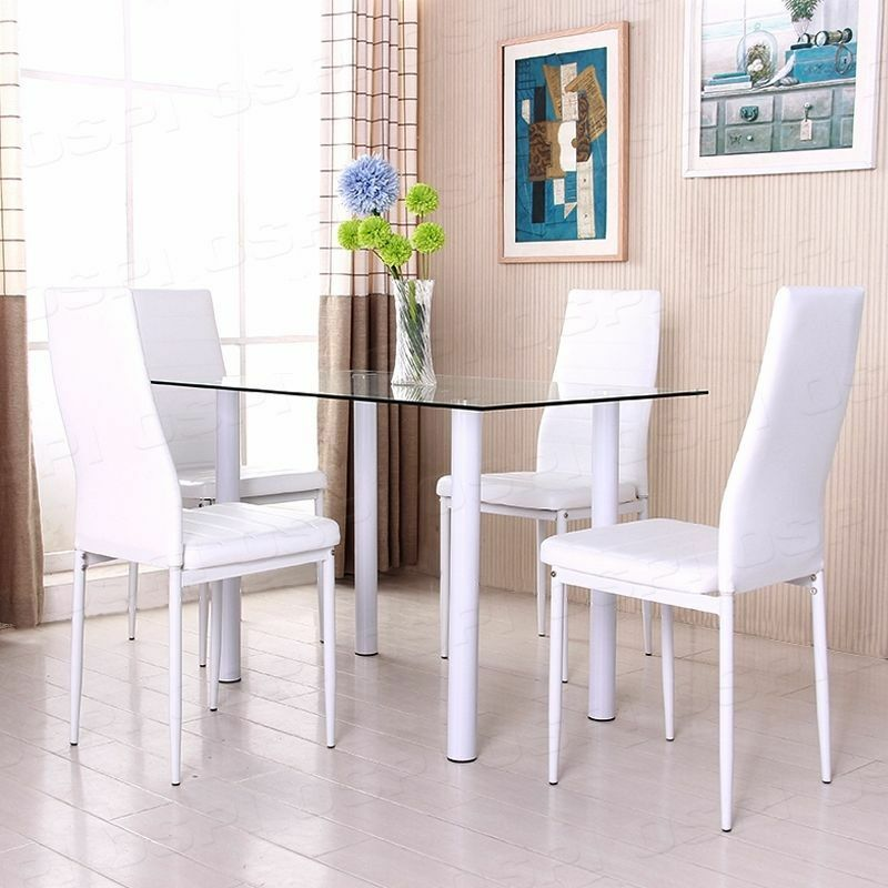 BN White Diningroom Glass Dining Table High Back Faux Leather Dining Chairs S