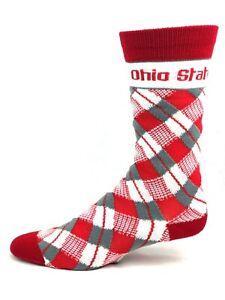 Ohio-State-Buckeyes-NCAA-Red-White-and-Gray-Plaid-Thin-Crew-Socks