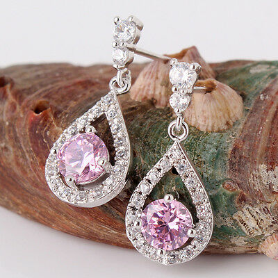 Stylish LADY 18K white gold filled pink Swarovski crystal dangle earring