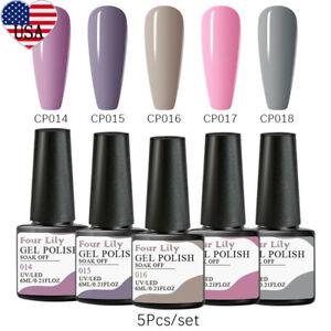 5Bottles-6ml-FOUR-LILY-UV-Gel-Nail-Polish-Soak-Off-Varnish-Manicure-DIY-Set-Kit