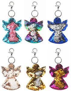 Wende Pailletten Taschenanhänger Schlüssel Anhänger Motiv Engel Viele Farben
