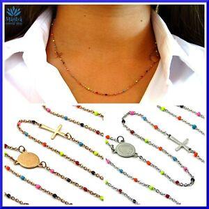 Collana rosario donna girocollo acciaio inox multicolore collanina da per croce