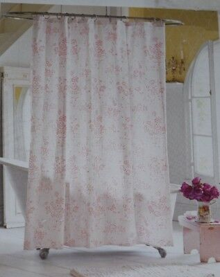 Simply Shabby Chic Shower Curtain Pink Floral Roses French Country