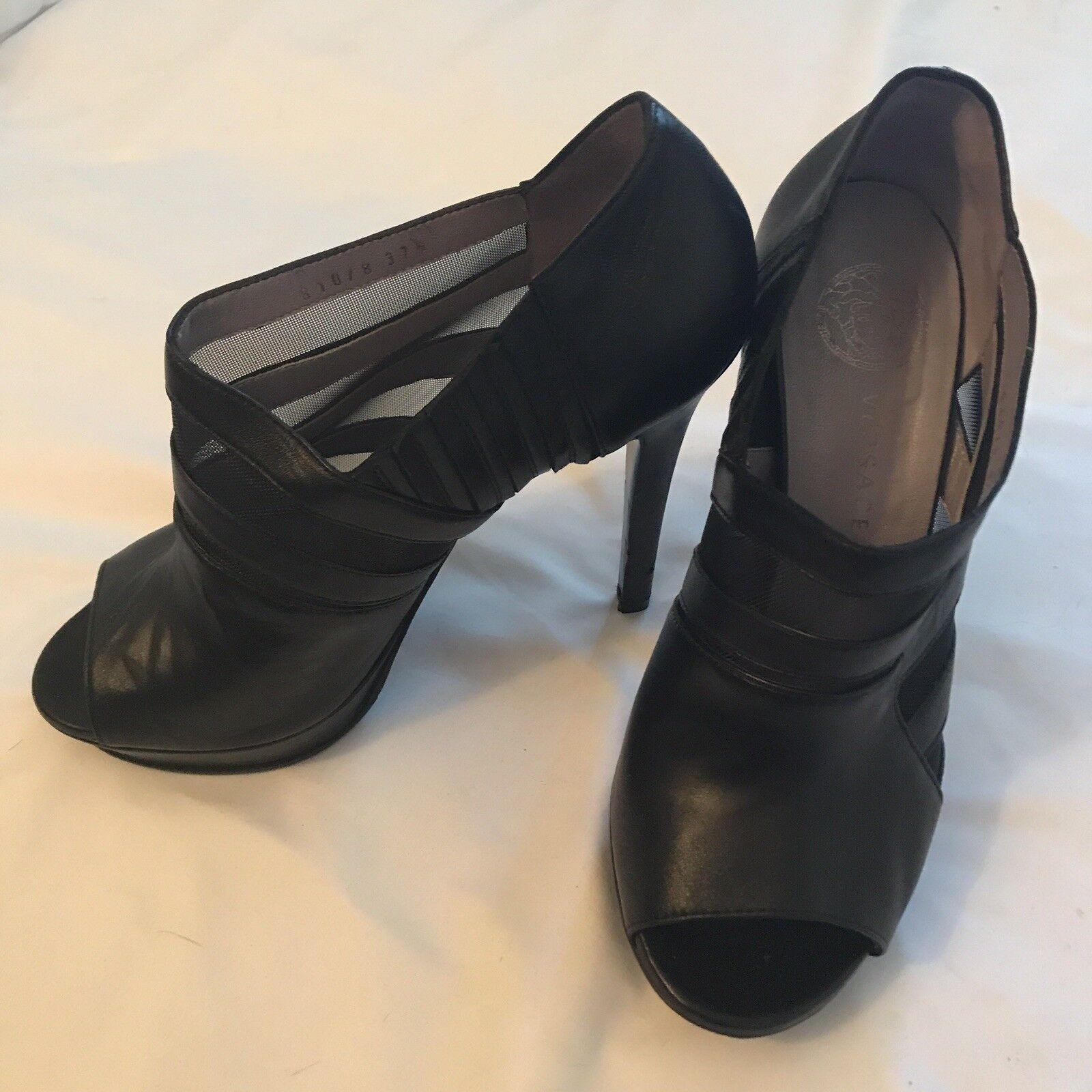 Cuero negro 37 1   2 zapatos de tacón fino