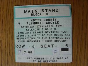 27041991 Ticket Notts County v Plymouth Argyle  folded - Birmingham, United Kingdom - Returns accepted within 30 days after the item is delivered, if goods not as described. Buyer assumes responibilty for return proof of postage and costs. Most purchases from business sellers are protected by the Consumer Contr - Birmingham, United Kingdom