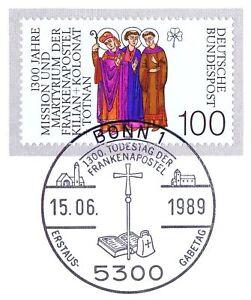 BRD-1989-Frankenapostel-Nummer-1424-mit-sauberem-Bonner-Ersttags-Sonderstempel