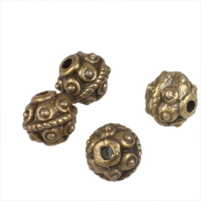 100x Excellent Ancient Bronze Charms Beads 6mm 111323