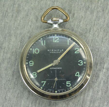 VINTAGE GERMANY 'KIENZLE MARKANT' MILITARY STYLE wh BLACK DIAL POCKET WATCH