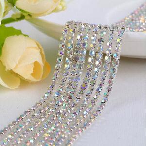 1M-Crystal-Rhinestone-Trim-Chain-2-2-5-3mm-Silver-Cup-Close-Diamante-Chain-Trims
