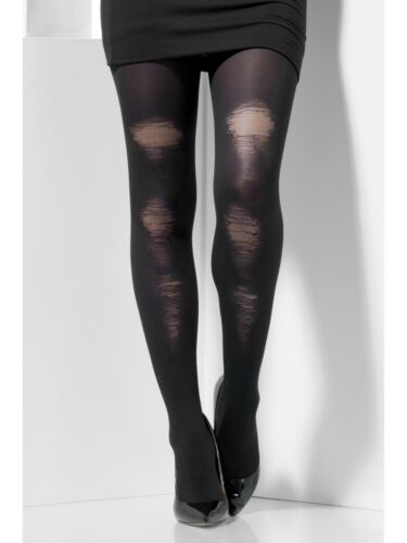 Black Tights Opaque With Distressed Detail Lades Underwear Hosiery