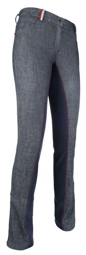 Kinder Jodhpur Reithose 1 1 Alos Besatz COUNTY Denim HKM PRO TEAM jeansblue NEU