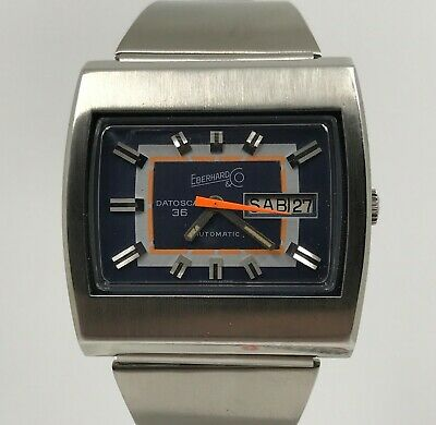 Competent Eberhard Vintage Datoscaf 36 Televisore Steel Automatic High Safety Watches, Parts & Accessories Wristwatches