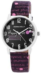 Damen-Armbanduhr-Dinosaurier-Donna-Kelly-Quarz-Lila-weiss-schwarz-Wristwatch