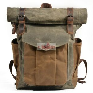 c1d3529183 Details about New Men's Water Resistant Canvas+Genuine Leather Backpack  School Laptop Book Bag