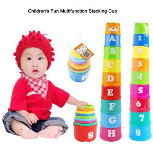 9PCS Educational Toys Figures Letters Foldind Stacking Cup Tower Baby Kids Child
