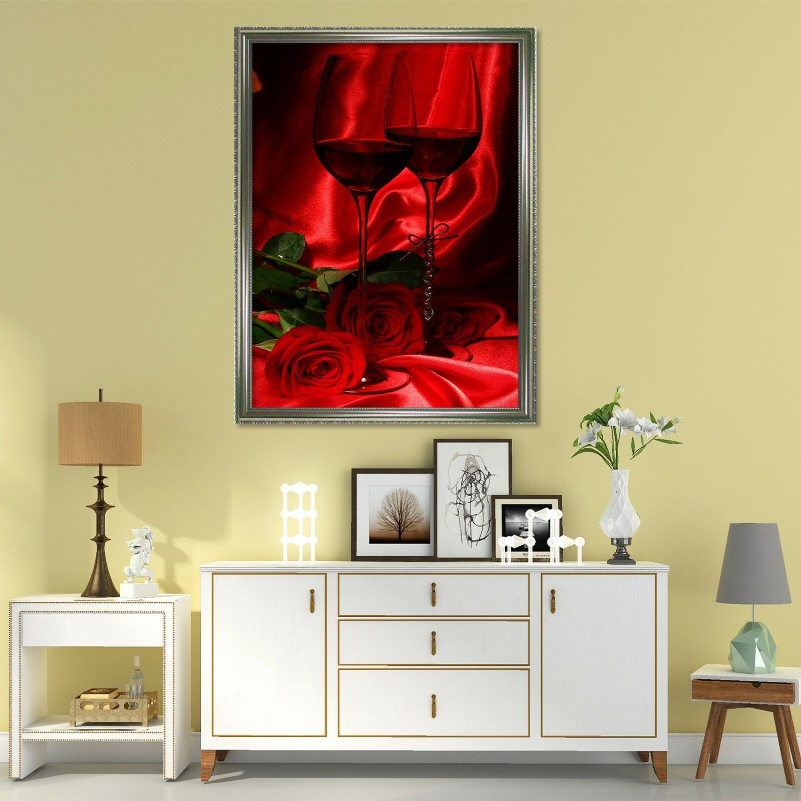 3D Red Wine pinks 2 Framed Poster Home Decor Print Painting Art AJ WALLPAPER