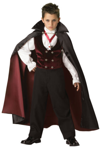 Gothic Vampire Child Costume Boys Kids Scary Halloween Haunted House Theme Party