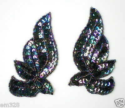 LR135-2 Mirror Pair Wings Leaf Sequin Beaded Applique Motif Black Iris