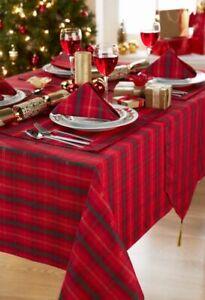 Round Circular Red Green Tartan Christmas Tablecloth 69 175cms Diameter Ebay