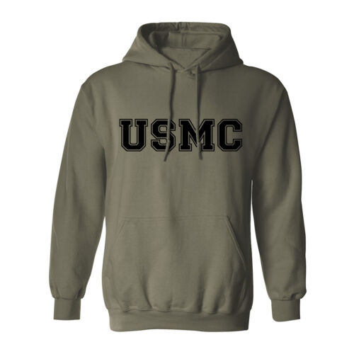 """/""""USMC/"""" Athletic Marines Hooded Sweatshirt in Military Green Adult Small to 5XL"""