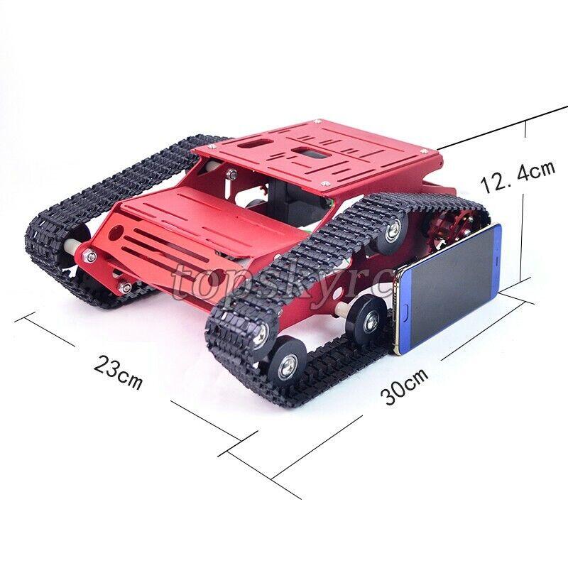 Tanque de orugas chasis de aleación de aluminio de chasis de tanque RC CNC Hazlo tú mismo tpys rosso inacabado