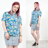 WOMENS VINTAGE 90'S BLUE ABSTRACT PATTERN SHIRT BLOUSE NINETIES CRAZY PRINT 10