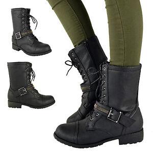 Botines-Combate-Mujeres-Plano-De-Tacon-Bajo-Con-Cordones-Ejercito-Militar