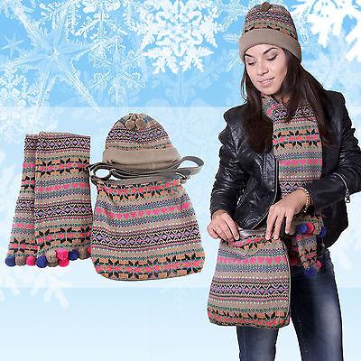 2019 Mode Cooles Winterset 3 Teilig Schal MÜtze Handtasche Im Klassischen Winter Muster GüNstige VerkäUfe