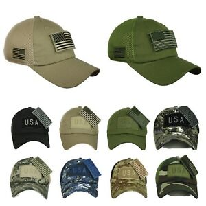 bea07706991 USA American US Flag Baseball Cap Army Tactical Mesh Military Camo ...