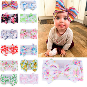 Baby-Toddler-Girls-Kids-Boho-Print-Bow-Knot-Turban-Headband-Hair-Band-Headw-I2